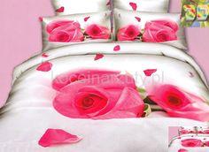 Pościel nowoczesna 3D w kolorze białym z różowymi różami