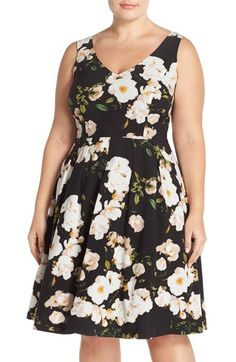 Free shipping and returns on City Chic Floral Print Fit & Flare Dress (Plus Size) at Nordstrom.com. Creamy white blossoms pop against the black background of this irresistibly feminine dress. The hourglass-flattering silhouette features a fitted V-neck bodice and a pleated skirt flared with a tulle underskirt.
