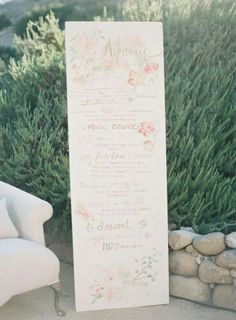 How gorgeous is this life size watercolor dinner menu? Smitten!