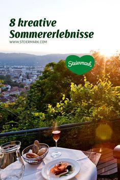 Bei diesen Ausflügen kommt man in Bewegung – und zwar kreativ! Für alle, die gerne unterwegs sind, aber lieber sanft die Umgebung entdecken als hohe Berge zu erklimmen, haben wir Tipps gesammelt. Vom Stadt-Ausflug bis zum Waldspaziergang. Da geht es etwa durch historische Innenhöfe, vorbei an alten Bauernhäusern oder mitten in die üppig-grünen Wälder der Waldheimat hinein. Na, neugierig geworden? Alcoholic Drinks, Wine, Travel, Old Farmhouses, Graz, Road Trip Destinations, Mountains, Viajes, Liquor Drinks