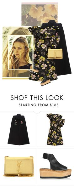 """""""Ruffled"""" by chebear ❤ liked on Polyvore featuring Gucci, ADAM, Giambattista Valli, Yves Saint Laurent, Paloma Barceló, Lana, platforms, metallic, ruffles and Capes"""