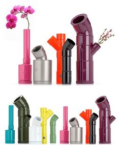 DIY PVC: Colorful Modern Vases from Plastic Plumbing Pipe by brigitte Plastic Plumbing Pipe, Pvc Pipes, Pvc Pipe Projects, Recycling, Bathroom Interior Design, Interior Modern, Bathroom Designs, Nursery Design, Bricolage