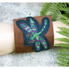 Bracelet on Suede and Felt with Dragonfly by HuzzahHandmade, $48.00 #hudsonvalley #hvnyteam