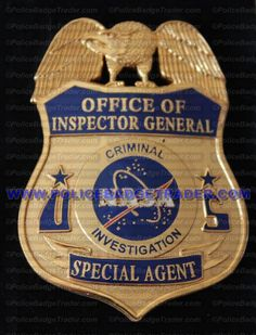 NASA Office of Inspector General (OIG) Special Agent badge. Available from www.policebadgetrader.com