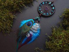 Peacock dream catcher rear view mirror charm pendant bag charm