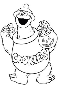 Cookie Monster Was Carrying Delicious Cake Coloring Pages