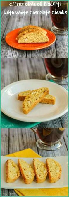 Citrus Olive Oil Biscotti with White Chocolate Chunks: a great cookie for your holiday cookie table or a great dessert any time of the year!