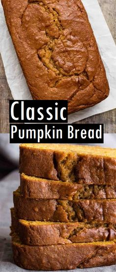 Classic Pumpkin Bread - Recipes Made Easy - Dessert Bread Recipes No Bake Desserts, Easy Desserts, Dessert Recipes, Pumkin Bread, Easy Bread, Dessert Bread, Holiday Baking, Sweet Bread, Pumpkin Recipes