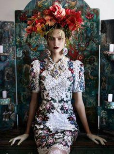 Brésil chic, Couronne de fleurs, Madone pour le projet de Clotilde.