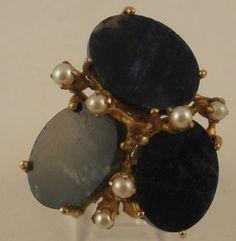 HUGE Unique Vintage Lapis Lazuli Cultured Pearl 14k Gold Cocktail Ring