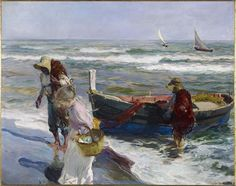 Joaquin Sorolla, Return from Fishing, 1889 Art Print by Fine Earth Prints - X-Small Spanish Painters, Spanish Artists, Oil On Canvas, Canvas Prints, Art Prints, Intermediate Colors, Cross Stitch Supplies, Am Meer, Art Abstrait