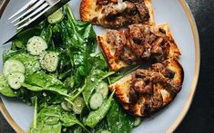 How about a deconstructed grilled cheese? Try this delicious steak and onion toast with cheddar cheese served with a refreshing creamy cucumber and spinach salad. Mayonnaise, Steak And Onions, Creamy Cucumbers, Spinach Salad, Slice Of Bread, Balsamic Vinegar, Cheddar Cheese, Sheet Pan, Bon Appetit