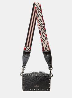 VALENTINO Women'S Guitar Rockstud Rolling Rectangular Crossbody Bag In Black. #valentino #bags #stone #crossbody #lining #shoulder bags #suede #hand bags #