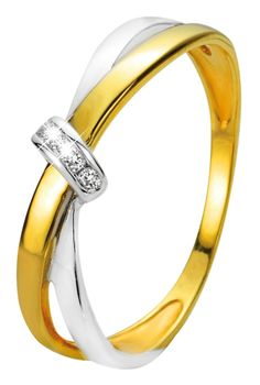 Bicolor gouden ring met diamant - Lucardi.nl