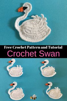 Get this free crochet pattern of this beautiful crochet swan at Kerri's Crochet. There are also many other crochet animal patterns available. #FreeCrochetPattern #CrochetSwan #CrochetAnimals