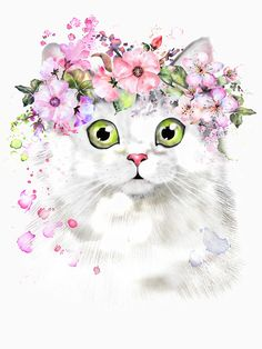 Find Cute Watercolor Cat Illustration Tshirt Print stock images in HD and millions of other royalty-free stock photos, illustrations and vectors in the Shutterstock collection. Watercolor Cat, Watercolor Animals, Watercolor Flowers, Cutest Cats Ever, Illustration Inspiration, Baby Animal Drawings, Image Chat, Floral Illustrations, Illustration Flower