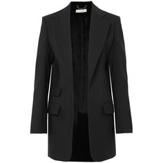 Chloé Wool and Silk-Blend Blazer (€2.760) ❤ liked on Polyvore featuring outerwear, jackets, blazers, black, tailored blazer, open front jacket, slim fit wool jacket, slim fit jackets and chloe jacket