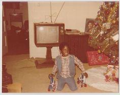 Vintage 70s PHOTO Little Black Boy w/ Christmas Gift Roller Skates   eBay