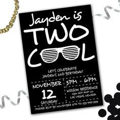 two birthday invitation boys 2nd birthday party modern black