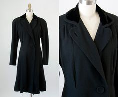 1940s Vintage Black Velvet Collar Wool Princess Coat. 50s Winter Jacket (L) by heirravintage on Etsy