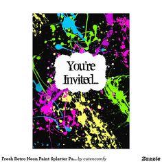 Invitación de neón retra fresca del fiesta de la
