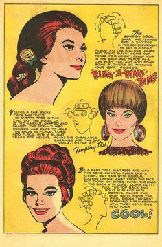 "Pin Curls Vintage fashion illustration hair styles Jay Scott Pike - Being a naturally curly girl, I have never had to fuss with hair rollers -- then again how many modern girls do? This ""Mad Mad Modes for Moderns"" spread from Young Love Medium Long Hair, Medium Hair Styles, Long Hair Styles, David Downton, Fashion Illustration Hair, Millie The Model, Black Girl Short Hairstyles, Vintage Hairstyles Tutorial, Retro Updo"