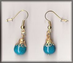 Blue Glass Bead Gold Plated Drop Earrings  by MadAboutIncense - $10.50