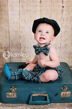 Baby Boy Blue Plaid Bow Tie, w/matching diaper cover & boots!!!! by:TheCuddleLoom on Etsy  This one took my breathe away!!! Look @ the other pictures of this baby boy photoshoot!!!! Too cute;)