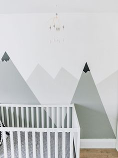 Neutral Gray and White kids nursery with mountain mural and scandinavian theme. Home Decoration Baby Room Colors, Baby Room Neutral, Nursery Neutral, Baby Boy Rooms, Baby Boy Nurseries, Room Baby, White Kids Room, Mountain Mural, Mountain Nursery