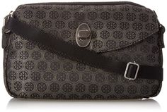 """Baggallini Tulip Jacquard Mini Floral, Khaki, One Size. Includes interior back wall zipper pocket. Four interior card slots. One exterior twist lock pocket. One exterior magnetic snap pocket. Shoulder strap is adjustable from 30.0"""" to 56.0""""."""