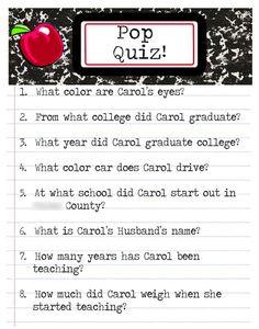 Teacher Retirement Party Activity Pop Quiz
