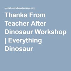 Thanks From Teacher After Dinosaur Workshop | Everything Dinosaur