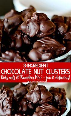 Шоколадные ореховые кластеры (или оленеводы) Ингредиенты ½ фунта или 8 квадратов полусладкого шоколада (или 1-1 / 4 стакана + 2 ст.л. шоколадной стружки) ¾ чашка подслащенного сгущенного молока 1 чашка Орехи Мне нравятся миндаль или смешанные орехи инструкции Растопите шоколад в двойном котле над горячей водой. Перемешать в подслащенном сгущенном молоке Удалить из тепла Перемешать в орехах Выкопайте ложки и опустите на листе для выпечки на вощеной бумаге. Охладите в холодильнике, чтобы…