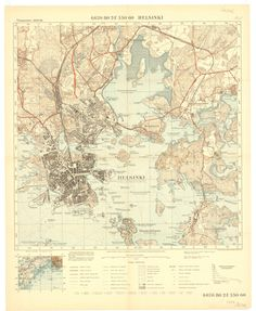 Topographic map of Helsinki, by National Land Survey of Finland, 1938 Helsinki, Land Survey, Map Layout, Atlas, Vintage Maps, Map Design, Topographic Map, Historical Maps, Paper Background