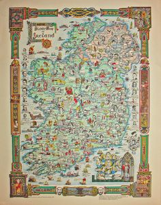 Story Map of Ireland: A detailed and colorful pictorial map of Ireland, filled… Irish Celtic, Irish Men, Ireland Map, Pictorial Maps, Map Globe, Book Of Kells, Old Maps, British Isles, Historical Sites
