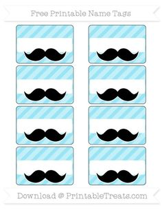 """Get these manly pastel teal chevron mustache name tags to use at your """"Lil' Man"""" party or man/boy theme celebration. These work great as labels for food and party items as well as for name tags to Printable Name Tags, Party Food Labels, Little Man Birthday, Teal Chevron, Mustache Party, Mustache Theme, Bubblegum Pink, Party Items, Tiffany Blue"""