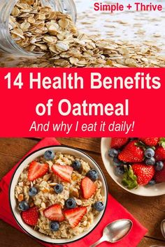 It has been said that we could improve our health by eating a bowl of oatmeal daily. Here are 14 health benefits and reasons I eat it every day and links to a couple of my favorite ways to prepare it. Oatmeal Benefits Health, Health Benefits, True Food, Food Diary, Healthy Options, Plant Based Recipes, Fruits And Veggies, Meal Prep, Healthy Living