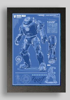 Iron Man HulkBuster Blueprints  printed on premium quality card stock using premium quality pigment based inks.    other blueprints available  Mark 1