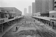 Housing complex with shops, Halle-Neustadt, East Germany, 1983
