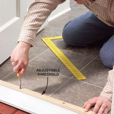 Stop drafts coming under a door by raising the adjustable threshold. It only a minute to turn the four adjusting screws