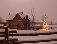 Montana Christmas Photograph -I need to be there Cabin Christmas, Christmas Scenes, Primitive Christmas, Little Christmas, Outdoor Christmas, All Things Christmas, Winter Christmas, Christmas Lights, Merry Christmas