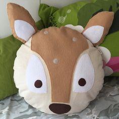 Deer Animal Face Plush Pillow Animal foot print by lanilandgoods