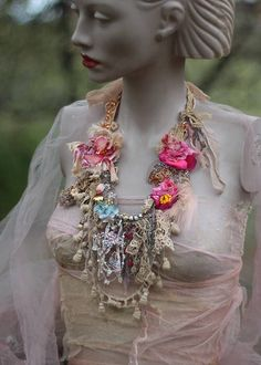 Petals and old laces necklace- original shabby chic antique lace necklace, hand stitched, beaded by FleursBoheme on Etsy https://www.etsy.com/au/listing/554812324/petals-and-old-laces-necklace-original