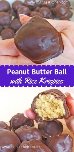 This Easy Peanut Butter Balls Rice Krispies Recipe is not elegant or fancy, but it is ridiculously delicious and there's no baking involved, all the ingredients are just tossed into a bowl and stirred Peanut Butter Rice Krispies, Best Peanut Butter, Rice Krispie Treats, Peanut Butter Balls With Rice Krispies Recipe, Recipes Using Rice Krispies, Rice Krispie Balls Recipe, Peanut Recipes, Chocolate Chip Recipes, Recipes With Peanut Butter