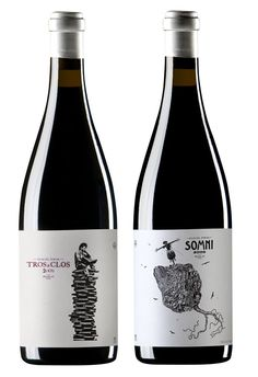 Wines made by Alfredo Arribas in both the Priorat and Montsant regions of Spain. The Somni is the high-end blend, made from the most concentrated grapes. The Tros de Clos, is a single vineyard wine, from the Cariñena grape. Wine Label Design, Bottle Design, Wine Bottle Labels, Beer Label, Etiquette Champagne, Impression Etiquette, Wine Tasting Events, Spanish Wine, Wine Brands