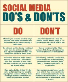 [INFOGRAPHIC] Do's and Don'ts in Social Media #SocialMedia #Marketing #SocialVille #Infographic #OnlineMarketing #Bars #Dosanddonts