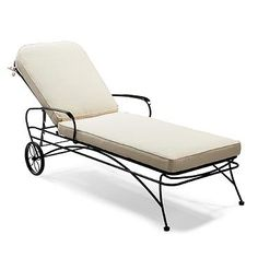Ellington Wrought Iron Chaise with Solid Cushions