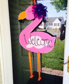 Sassy flamingo door hanger