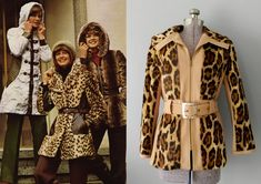Faux fur waist coats, dress coats, and jackets, often in animal prints