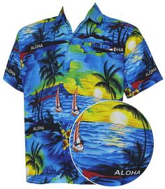 6222edad2 Blue ALOHA Classic Regular Fit Short Sleeve Hawaiian Men's Front Pocket  Shirt at Amazon Men's Clothing store: